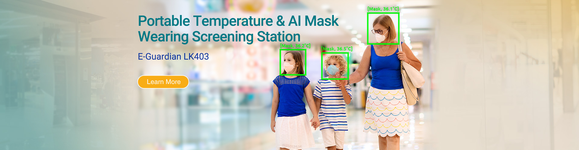 Portable Temperature & AI Mask Wearing Screening Station